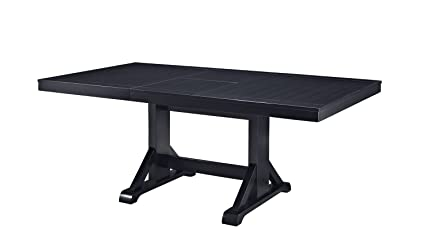 Amazoncom WE Furniture Solid Wood Black Dining Table Tables - Black conference room table