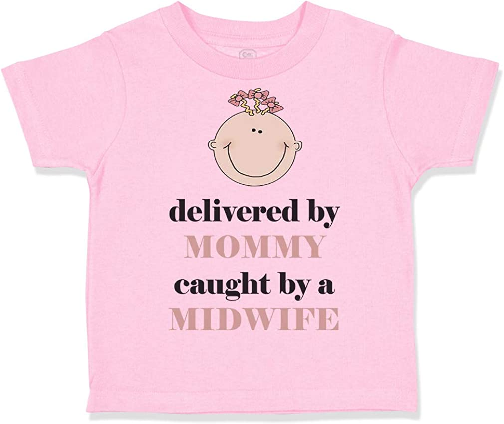 Custom Toddler T-Shirt Delivered by Mommy Caught Midwife #2 Funny Cotton