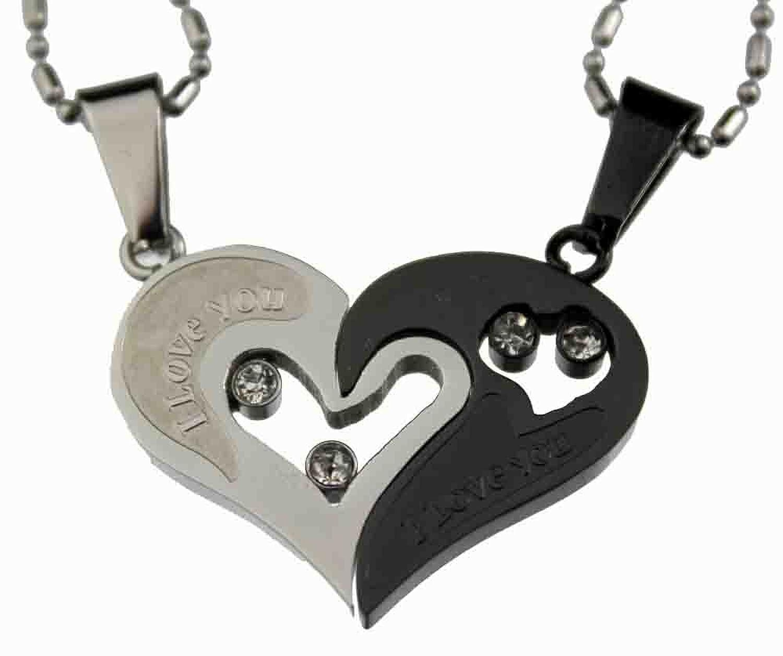 Amazon.com: Lovers /Couple Black /Silver Tone Heart Pendant Set ...