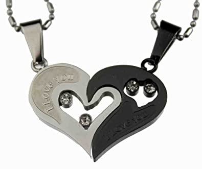 Amazon lovers couple black silver tone heart pendant set lovers couple black silver tone heart pendant set stainless steel aloadofball Choice Image