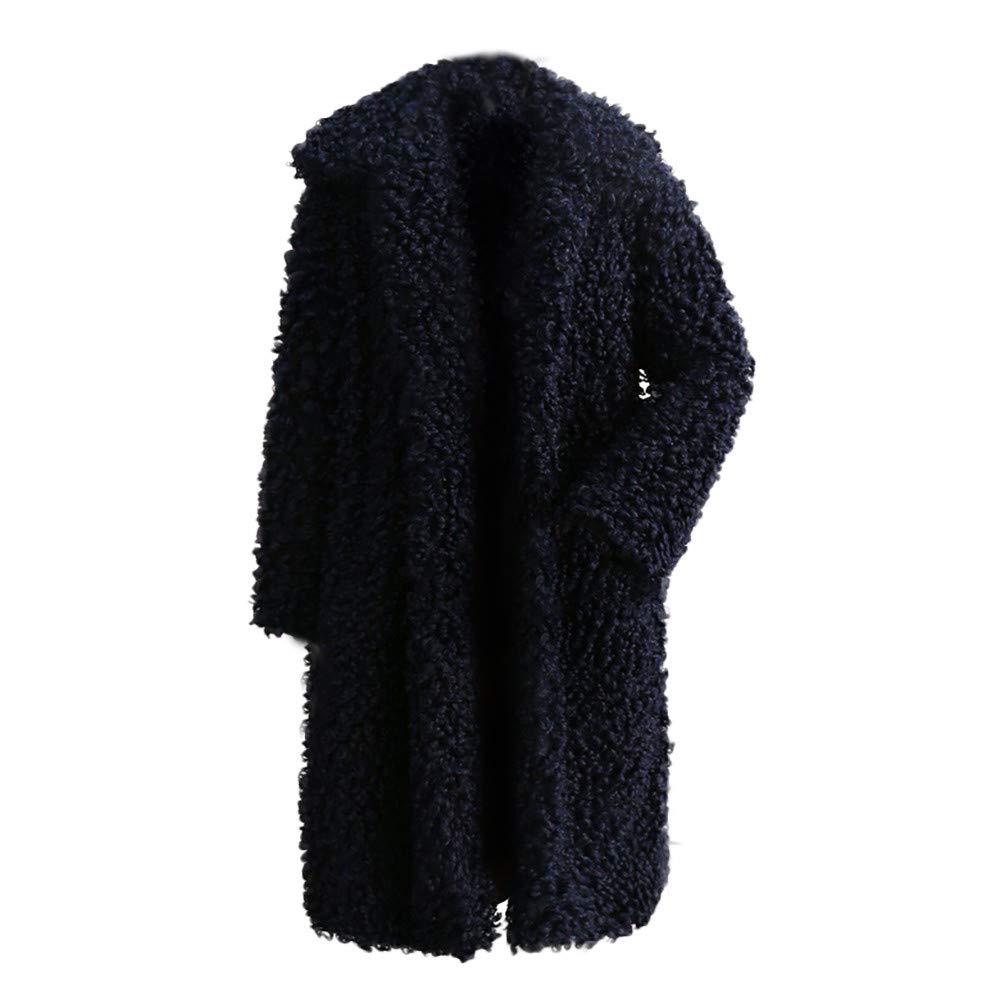 Lelili Clearance Women Winter Warm Long Cardigan Coat Long Sleeve Turn Down Collar Straight Outwear Parka
