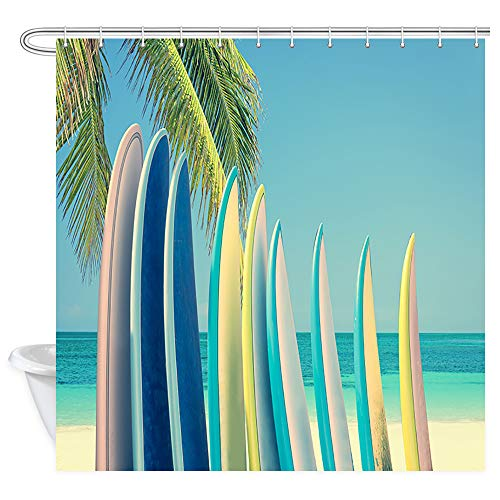 (JAWO Tropical Beach Shower Curtain, Colorful Surfboards by The Ocean with Palm Tree Premium Waterproof Bathroom Decor Polyester Fabric Upgrade Bath Curtains, Hooks Included, 69X70 Inches)