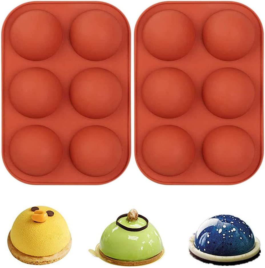 2Pcs Easter Chocolate Mold Semi Sphere Silicone Mould Baking DIY Mold Fondant Mould Baking Sugar Craft Decorating Mold Tool Soap Shape Jelly Soap Mould Pack Bomb