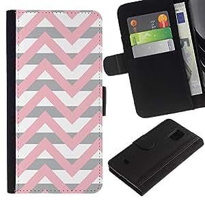 APlus Cases // Samsung Galaxy S5 Mini, SM-G800, NOT S5 REGULAR! // Chevron rosa beige blanco líneas modelo // Cuero PU Delgado caso Billetera cubierta Shell Armor Funda Case Cover Wallet Credit Card