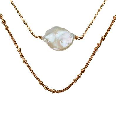 b3ac61020215 LuckyLy - Collares Mujer Goldie - Collares con Piedras Mujer de 2 Capas - Diseño  Moderno con Perla Natural Colgante - Cadenas Baño de Oro  Amazon.com.mx  ...