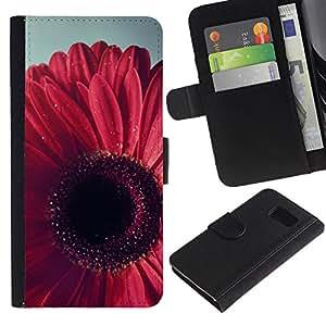 UberTech / Samsung Galaxy S6 SM-G920 / Flower Petal Floral Pink Purple / Cuero PU Delgado caso Billetera cubierta Shell Armor Funda Case Cover Wallet Credit Card