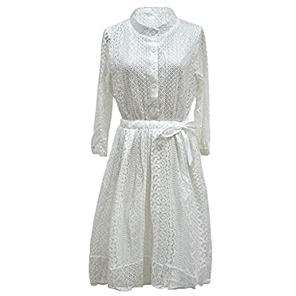Verano moda coreana puntilla fina vídeo San Sau vestidos blancos,XXL,blanco