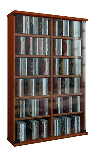 VCM Display Cabinet Shelf Storage Unit Cupboard CD DVD Furniture Wood Stand Tower Roma Cherry Wood