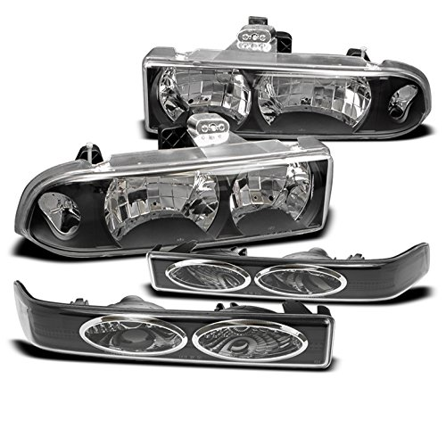 1998-2004 Chevy S10 / Blazer Crystal Headlights with Bumper Lights - (Chevy S10 Crystal Headlights)