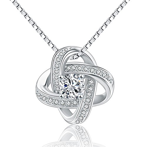 925 Sterling Silver Created Stone Infinity Pendant Necklace, 16'' box chain (16' Cubic Fashion Necklace Zirconia)
