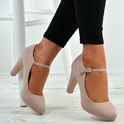 New Womens Ankle Strap Pumps Ladies High Block Heel Buckle Shoes Size UK 3-8 Beige Ec0dhJ5