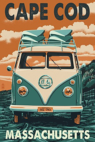 Cape Cod Canvas (Cape Cod, Massachusetts - VW Van Letterpress (9x12 Art Print, Wall Decor Travel Poster))