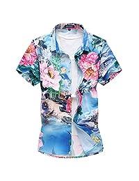 Mofgr Men's Short Sleeve Hawaiian Floral Shirt Plus Size 5XL 6XL 7XL