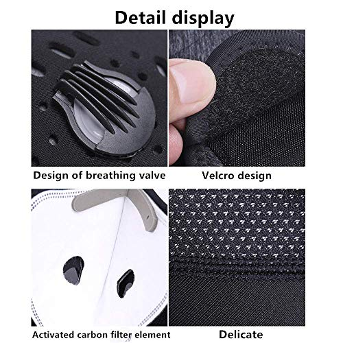 unhg Dust Breathing Mask Activated Carbon Dustproof Mask Sport Mask with Extra Carbon N99 Filters for Pollen Allergy Woodworking Mowing Running Cycling Outdoor Activities (Style3)