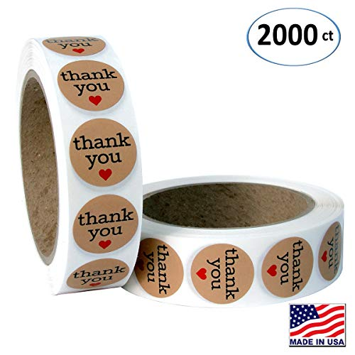 Natural Paper Kraft Thank You Sticker Labels with Red Hearts, 1 Inch Round, 1000 Stickers per Roll, 2 Rolls