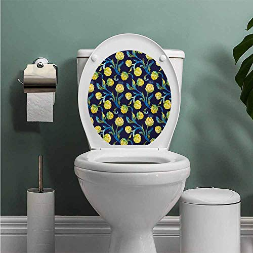 Auraise Heybee Artichoke Vinyl Carving Decal Sticker Watercolor Artichokes Abstract Color Scheme Art Nouveau Toilet Seat Sticker Bathroom Decor Dark Blue Violet Blue and Yellow W12XL14 INCH
