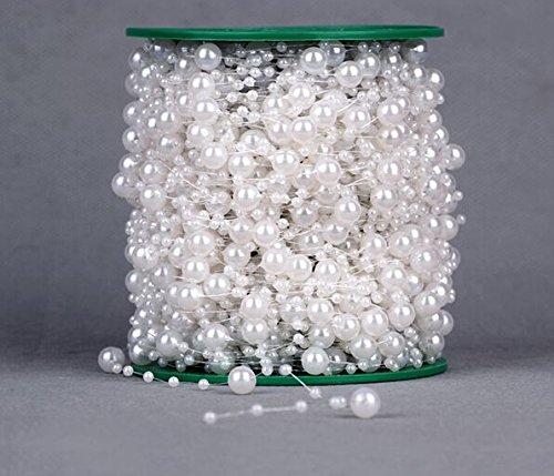 Joinwin® Hot Sale 200 Feet Roll 3&8mm Pearl String Bead Garland Strand Wedding Decoration DIY Bridal Party Supplies Craft Decor (White) - Pearl Sprays Wedding Decorations