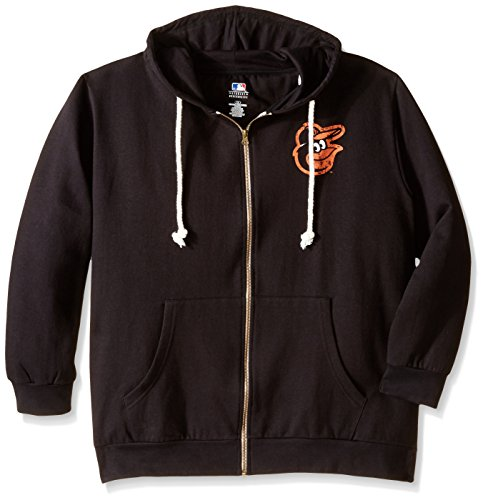 MLB Baltimore Orioles Women's Plus Size Zip Hood with Logo, 1X, Black by Profile Big & Tall