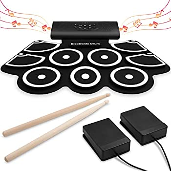 electronic drum set 9 midi drum practice pads bluetooth portable roll up electric. Black Bedroom Furniture Sets. Home Design Ideas