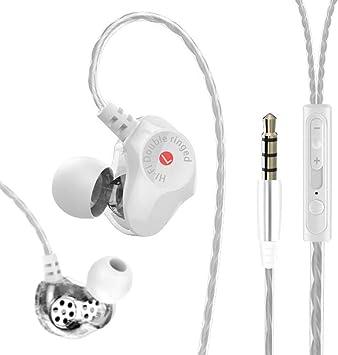 Wired Auriculares, versión HiFi Auriculares In-Ear Dual Controladores Dynamic Auriculares Super Bass Stereo Headset con micrófono para Samsung iPhone Smartphone Tablets iPad PC MP3 Blanco: Amazon.es: Electrónica