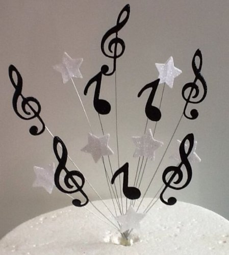 Black White Music Notes Stars Cake Topper