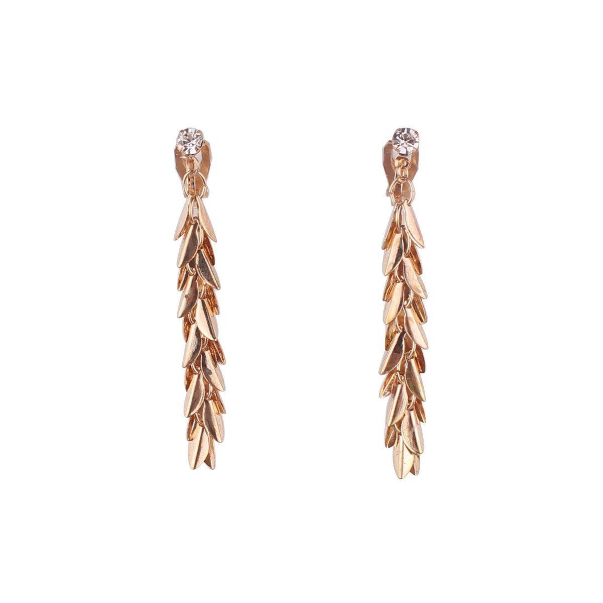 Grace Jun CZ Rhinestone Long Willow Drop Earrings and Clip on Earrings No Pierced for Women (486 gold clip on)