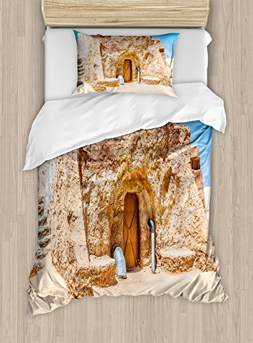 Ambesonne Galaxy Duvet Cover Set Twin Size, One of Abandoned Sets of Movie in Tunisia Desert Phantom Menace Galaxy Themed Image, Decorative 2 Piece Bedding Set with 1 Pillow Sham, Brown Blue by Ambesonne