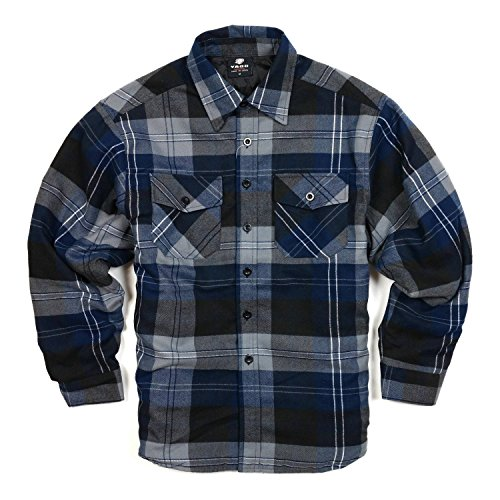 (YAGO Men's Quilted Lined Long Sleeve Flannel Plaid Button Down Shirt YG2611 (Navy/Dark Grey/Grey, 4X-Large))