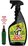 """AGENT 420 - 22 oz Cannabis Odor Destroying Spray for Eliminating Pot Smoke, Cigarette Smoke or Most Unwanted Odors In Your House, Car or Apartment, So Freshen Up The """"Joint""""! Inludes FREE atomizer"""