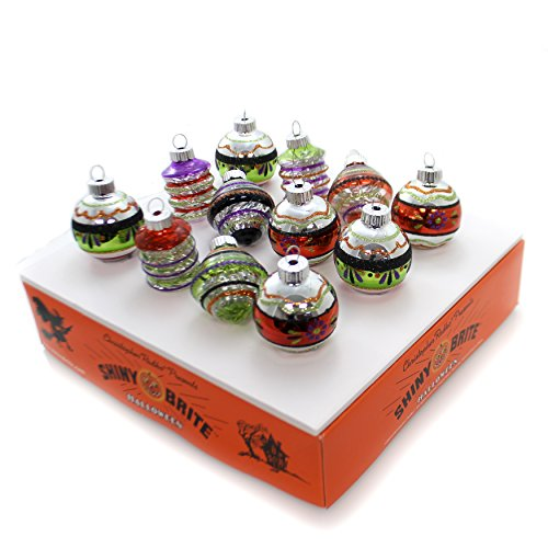 Christopher Radko Halloween 12 Piece Rounds and Shapes W/Tinsel -