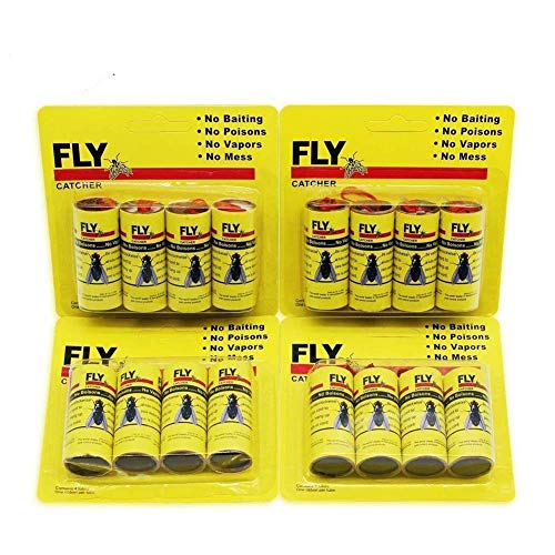 16 Pack Fly Paper Ribbons,Fly Paper Strips,Fly Trap,Sticky Fly Catcher Trap, Fly Catcher Ribbon Eco-Friendly 100% Non-Toxic