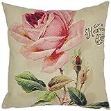 Clearance Big Rose Linen Burlap Cushion Cover Pillow Case 45cmx45cm