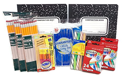 Back to School Supplies Pack - 2 Packs Crayons 3 Packs No.2 Pencils 1 Pack Glue Sticks 1 Pack Pens 1 Pack Twisted Erasers 2 Composition Books