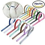 AKOAK 15 Pcs/Set Soft, Adjustable & Reusable Velcro Pet Identification Bands Puppy Dog Cat ID Collars (15 Colors)