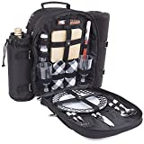 Plush Picnic - Picnic Backpack/Picnic Basket with Cooler Compartment, Detachable Bottle/Wine Holder, Fleece Blanket, Plates and Cutlery Set (2 Person)