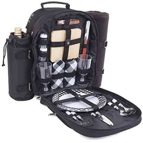 Wine backpack with picnic equipment with wine bottle holder