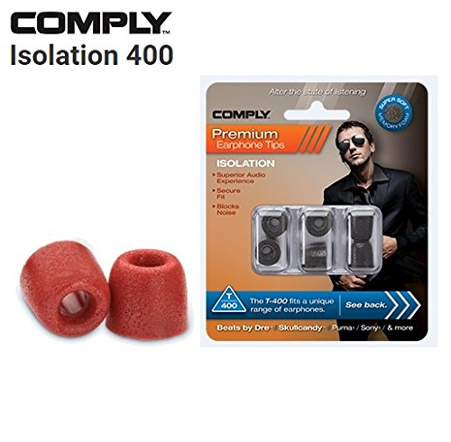 Comply Foam Premium Earphone Tips - Isolation T-400 (Red, 3 Pairs, (T400 Foam Tips)