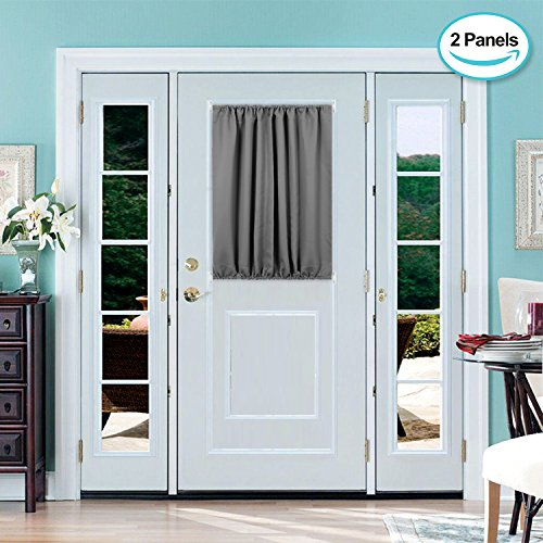 Deconovo Door Curtains Thermal Insulated Blackout Curtain Door Window Panel Curtain 54x40 Inch Dark Grey 2 Panels