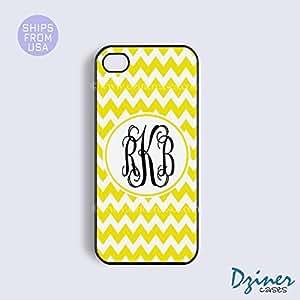 Monogram iPhone 5 5s Case - Yellow White Stripes Purple Circle iPhone Cover wangjiang maoyi by lolosakes