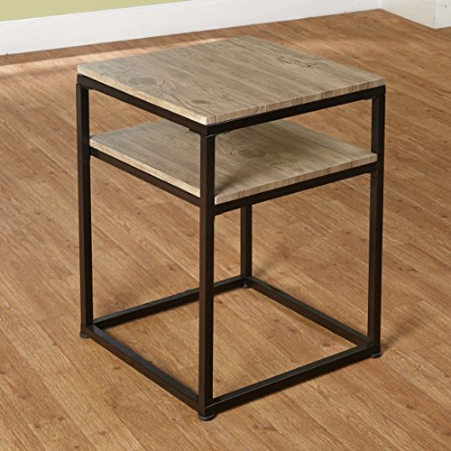 Target Marketing Systems Piazza Collection Modern Reclaimed Sleek End Table With Open Shelf, Wood/Metal by Target Marketing Systems (Image #1)