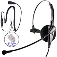 RJ9 Headset - Jabra Compatible QD Cost Effective Pro Monaural Headset + Virtual Compatibility RJ9 cord with Cisco Avaya Panasonic