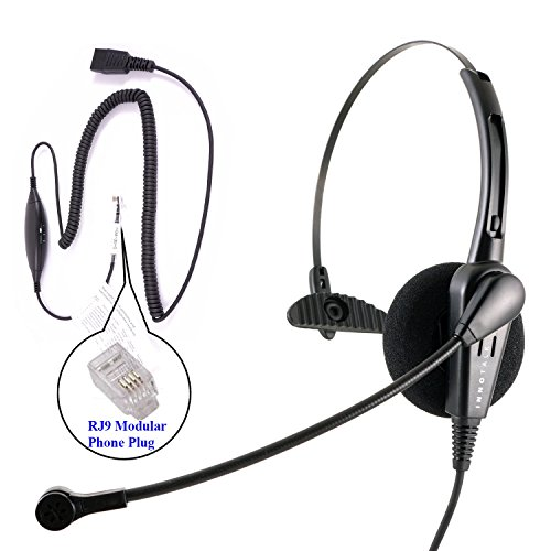 RJ9 Headset - Cost Effective Pro Monaural Headset + Virtual Compatibility RJ9 Cord applicable for Cisco Avaya - Netcom Gn Corded Headset