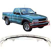 MBI AUTO - Steel Chrome, Front Upper Bumper Face Bar for 1998-2004 Chevy S10 Blazer & Pickup LS W/ Strip Holes, GM1002368