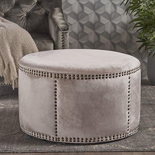 Christopher Knight Home 302208 Jesper Studded Champagne Velvet Ottoman,