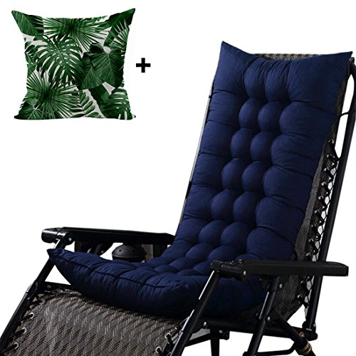 Didihou Rocking Chair Cushions 1 Piece Soft High Back Seat Cushion for Indoor Outdoor Use with Leaves Print Throw Pillow Cover (49x19 Inch, Navy Blue)