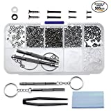Seniore 510pcs Eyeglasses Repair Kit, 45 Kinds of Small Screws and Nose Pads Set,with 2 Screwdrivers for Sunglasses, Watch, Jewelry Fixing Universal