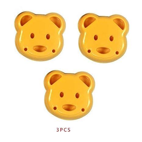 Royalr 3pcs / Set de moldes pequeña Bola de arroz patrón del Oso de la Historieta