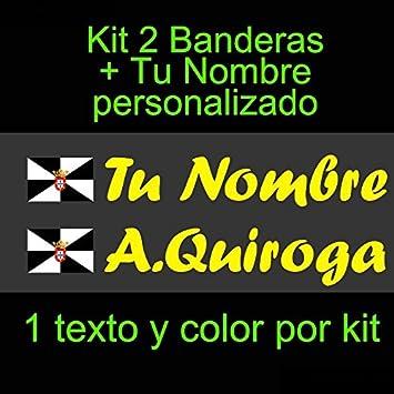 Vinilin - Pegatina Vinilo Bandera Ceuta + tu Nombre - Bici, Casco, Pala De