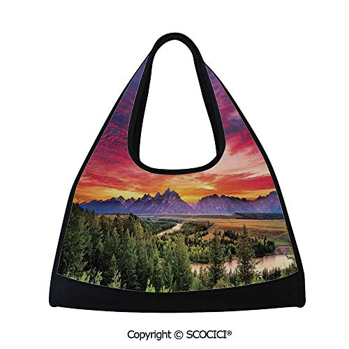 Tennis racket bag,Colorful Skyline with Clouds in the Forest Lake River Mountain Landscape Sunburst,Multi Functional Bag (18.5x6.7x20 in) Multicolor ()