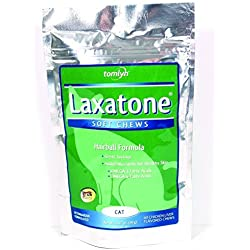 Laxatone Soft Chews Hairball Formula Cat Treat 120 Count, 6.34oz(180g) - 2 packs